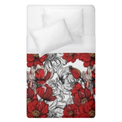 Hand Drawn Red Flowers Pattern Duvet Cover (single Size) by TastefulDesigns