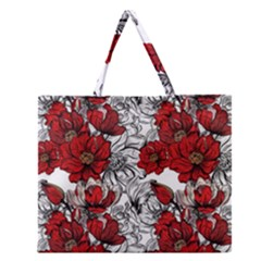 Hand Drawn Red Flowers Pattern Zipper Large Tote Bag by TastefulDesigns