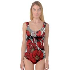 Red Flowers Pattern Princess Tank Leotard  by TastefulDesigns