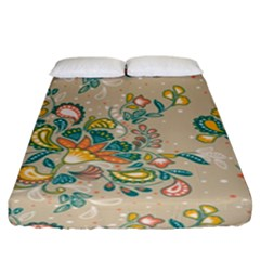Hand Drawn Batik Floral Pattern Fitted Sheet (king Size) by TastefulDesigns