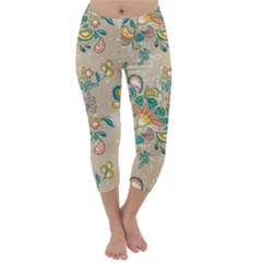 Hand Drawn Batik Floral Pattern Capri Winter Leggings  by TastefulDesigns