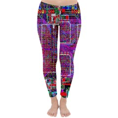 Technology Circuit Board Layout Pattern Classic Winter Leggings by Vanbedor