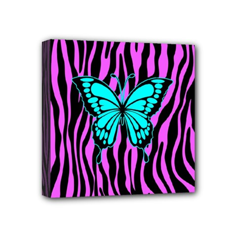 Zebra Stripes Black Pink   Butterfly Turquoise Mini Canvas 4  X 4  by EDDArt