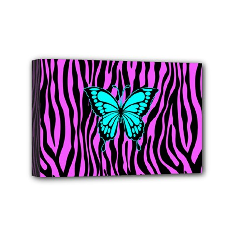Zebra Stripes Black Pink   Butterfly Turquoise Mini Canvas 6  X 4  by EDDArt