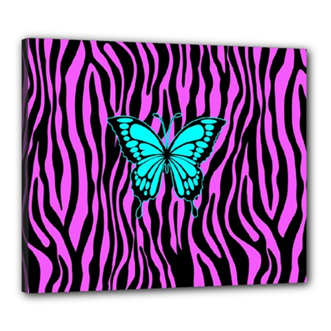 Zebra Stripes Black Pink   Butterfly Turquoise Canvas 24  X 20  by EDDArt