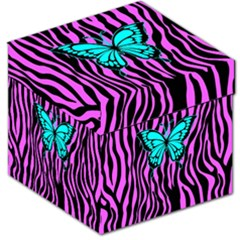 Zebra Stripes Black Pink   Butterfly Turquoise Storage Stool 12   by EDDArt