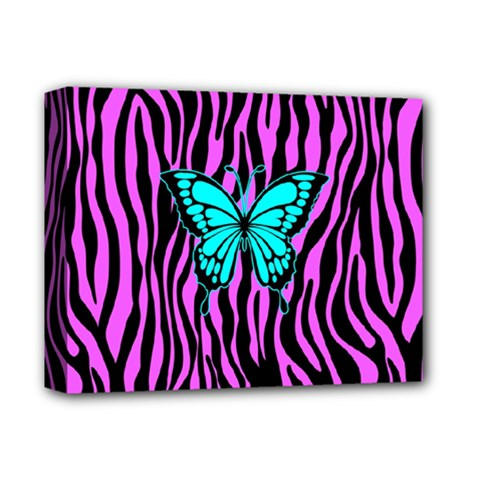 Zebra Stripes Black Pink   Butterfly Turquoise Deluxe Canvas 14  X 11  by EDDArt
