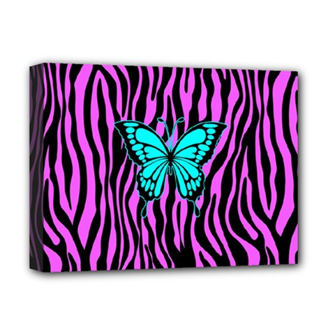 Zebra Stripes Black Pink   Butterfly Turquoise Deluxe Canvas 16  X 12   by EDDArt
