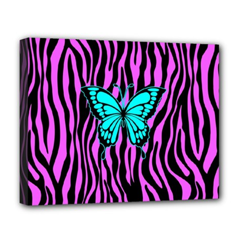 Zebra Stripes Black Pink   Butterfly Turquoise Deluxe Canvas 20  X 16   by EDDArt
