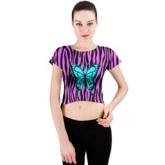 Zebra Stripes Black Pink   Butterfly Turquoise Crew Neck Crop Top by EDDArt