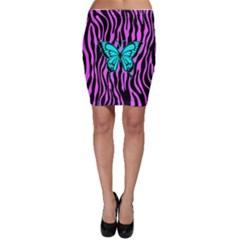 Zebra Stripes Black Pink   Butterfly Turquoise Bodycon Skirt by EDDArt