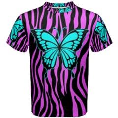 Zebra Stripes Black Pink   Butterfly Turquoise Men s Cotton Tee by EDDArt