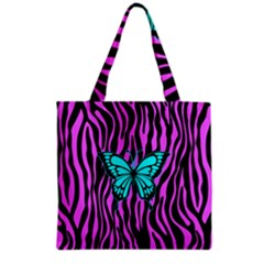Zebra Stripes Black Pink   Butterfly Turquoise Grocery Tote Bag by EDDArt