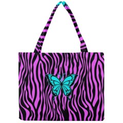 Zebra Stripes Black Pink   Butterfly Turquoise Mini Tote Bag
