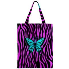 Zebra Stripes Black Pink   Butterfly Turquoise Classic Tote Bag by EDDArt