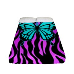 Zebra Stripes Black Pink   Butterfly Turquoise Fitted Sheet (full/ Double Size) by EDDArt