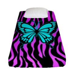 Zebra Stripes Black Pink   Butterfly Turquoise Fitted Sheet (single Size) by EDDArt