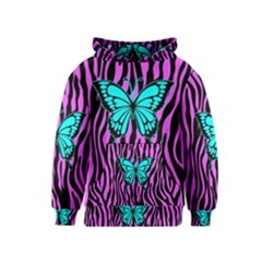 Zebra Stripes Black Pink   Butterfly Turquoise Kids  Pullover Hoodie by EDDArt