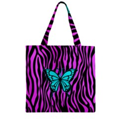 Zebra Stripes Black Pink   Butterfly Turquoise Zipper Grocery Tote Bag
