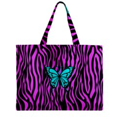 Zebra Stripes Black Pink   Butterfly Turquoise Zipper Mini Tote Bag by EDDArt