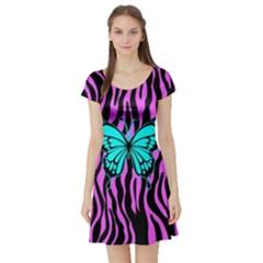 Zebra Stripes Black Pink   Butterfly Turquoise Short Sleeve Skater Dress by EDDArt