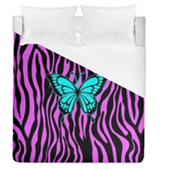 Zebra Stripes Black Pink   Butterfly Turquoise Duvet Cover (queen Size) by EDDArt