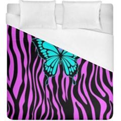 Zebra Stripes Black Pink   Butterfly Turquoise Duvet Cover (king Size) by EDDArt