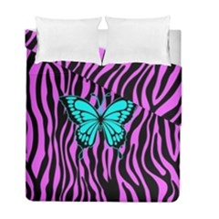Zebra Stripes Black Pink   Butterfly Turquoise Duvet Cover Double Side (full/ Double Size) by EDDArt