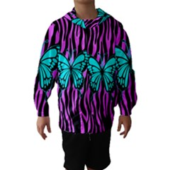 Zebra Stripes Black Pink   Butterfly Turquoise Hooded Wind Breaker (kids) by EDDArt