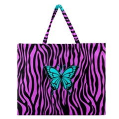 Zebra Stripes Black Pink   Butterfly Turquoise Zipper Large Tote Bag by EDDArt