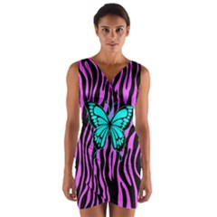 Zebra Stripes Black Pink   Butterfly Turquoise Wrap Front Bodycon Dress by EDDArt