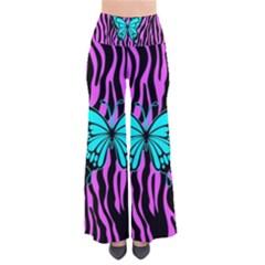 Zebra Stripes Black Pink   Butterfly Turquoise Pants by EDDArt
