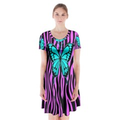 Zebra Stripes Black Pink   Butterfly Turquoise Short Sleeve V Neck Flare Dress by EDDArt