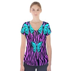 Zebra Stripes Black Pink   Butterfly Turquoise Short Sleeve Front Detail Top by EDDArt