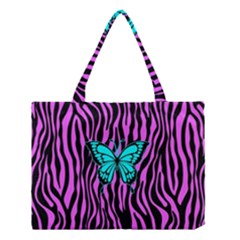 Zebra Stripes Black Pink   Butterfly Turquoise Medium Tote Bag by EDDArt