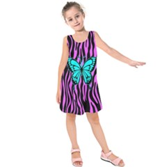 Zebra Stripes Black Pink   Butterfly Turquoise Kids  Sleeveless Dress by EDDArt