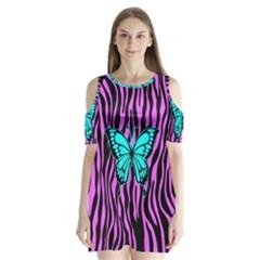 Zebra Stripes Black Pink   Butterfly Turquoise Shoulder Cutout Velvet  One Piece by EDDArt