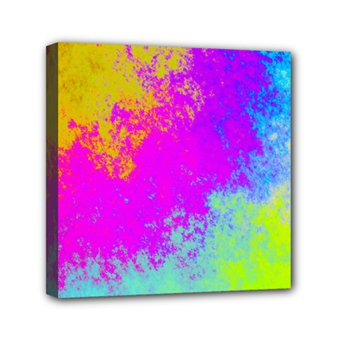 Grunge Radial Gradients Red Yellow Pink Cyan Green Mini Canvas 6  X 6  by EDDArt