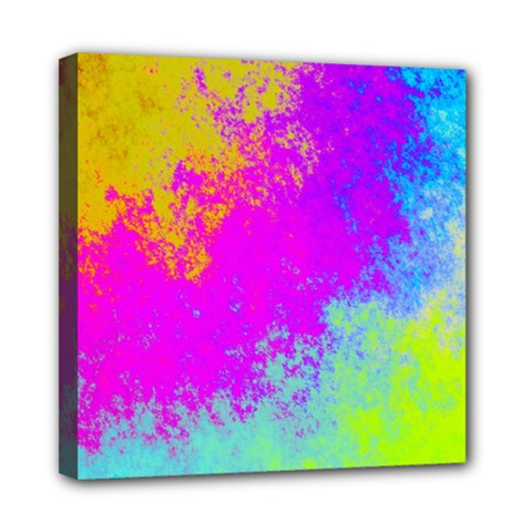 Grunge Radial Gradients Red Yellow Pink Cyan Green Mini Canvas 8  X 8  by EDDArt