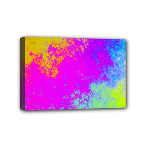 Grunge Radial Gradients Red Yellow Pink Cyan Green Mini Canvas 6  X 4  by EDDArt