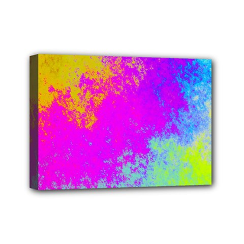 Grunge Radial Gradients Red Yellow Pink Cyan Green Mini Canvas 7  X 5  by EDDArt