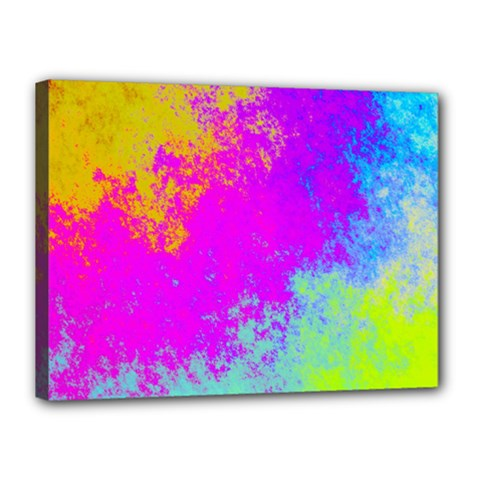 Grunge Radial Gradients Red Yellow Pink Cyan Green Canvas 16  X 12  by EDDArt