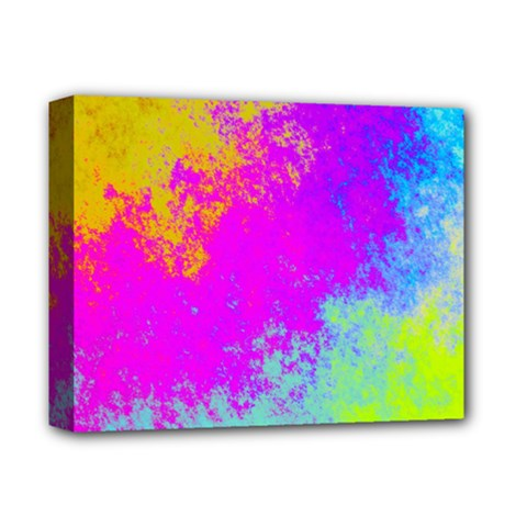Grunge Radial Gradients Red Yellow Pink Cyan Green Deluxe Canvas 14  X 11  by EDDArt