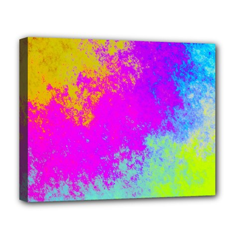 Grunge Radial Gradients Red Yellow Pink Cyan Green Deluxe Canvas 20  X 16   by EDDArt