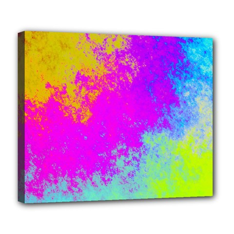 Grunge Radial Gradients Red Yellow Pink Cyan Green Deluxe Canvas 24  X 20   by EDDArt
