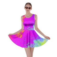 Grunge Radial Gradients Red Yellow Pink Cyan Green Skater Dress by EDDArt