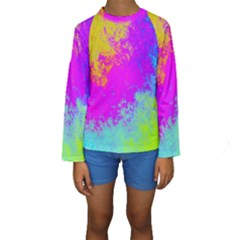 Grunge Radial Gradients Red Yellow Pink Cyan Green Kids  Long Sleeve Swimwear by EDDArt