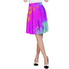 Grunge Radial Gradients Red Yellow Pink Cyan Green A Line Skirt by EDDArt