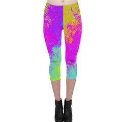 Grunge Radial Gradients Red Yellow Pink Cyan Green Capri Leggings  by EDDArt