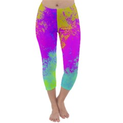 Grunge Radial Gradients Red Yellow Pink Cyan Green Capri Winter Leggings  by EDDArt